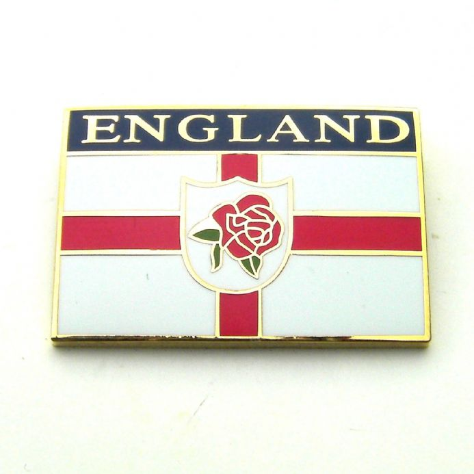 England Badge with Rose, Shield and Flag Design